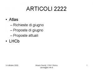 ARTICOLI 2222 Atlas Richieste di giugno Proposte attuali