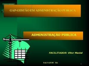 GAPGESTO EM ADMINISTRAO PBLICA FACILITADOR Vitor Maciel SALVADOR