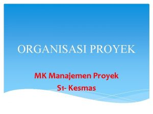 ORGANISASI PROYEK MK Manajemen Proyek S 1 Kesmas