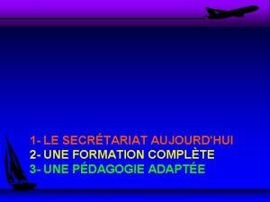 1 LE SECRTARIAT AUJOURDHUI 2 UNE FORMATION COMPLTE