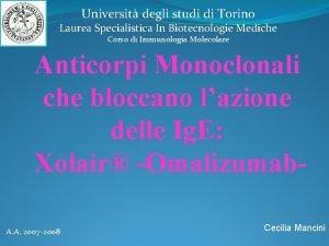 Universit degli studi di Torino Laurea Specialistica In