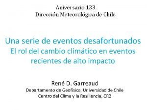 Aniversario 133 Direccin Meteorolgica de Chile Una serie