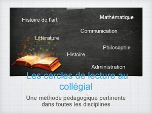 Mathmatique Histoire de lart Communication Littrature Philosophie Histoire