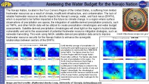 Assessing the Water Budget for the Navajo Nation