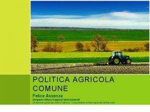 LEVOLUZIONE DELLA POLITICA AGRICOLA COMUNE Felice Assenza Dirigente