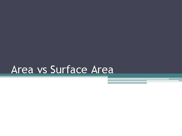 Area vs Surface Area Surface Area Surface Area