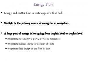 Energy Flow Energy and matter flow in each