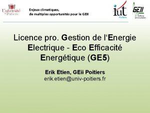 Enjeux climatiques de multiples opportunits pour le GEII