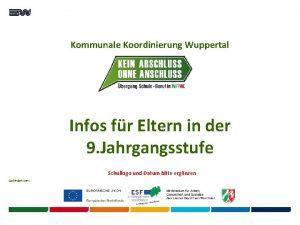 Kommunale Koordinierung Wuppertal Infos fr Eltern in der