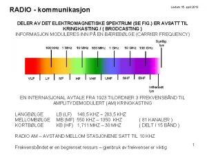 Lindem 15 april 2013 RADIO kommunikasjon DELER AV