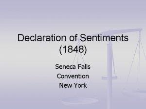 Declaration of Sentiments 1848 Seneca Falls Convention New