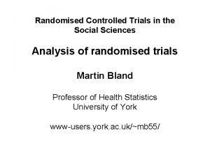 Randomised Controlled Trials in the Social Sciences Analysis