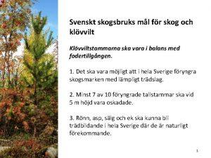 Svenskt skogsbruks ml fr skog och klvvilt Klvviltstammarna