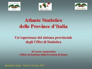 Atlante Statistico delle Province dItalia Unesperienza del sistema