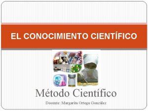 EL CONOCIMIENTO CIENTFICO Mtodo Cientfico Docente Margarita Ortega