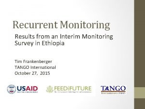 Recurrent Monitoring Results from an Interim Monitoring Survey