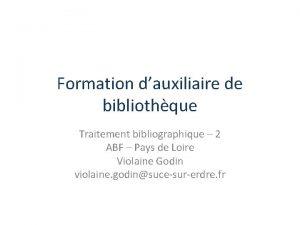 Formation dauxiliaire de bibliothque Traitement bibliographique 2 ABF