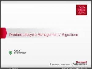 Product Lifecycle Management Migrations PUBLIC INFORMATION Rev 5058