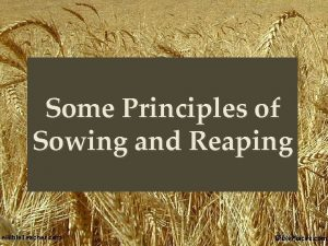Some Principles of Sowing and Reaping Parable of