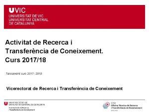 Activitat de Recerca i Transferncia de Coneixement Curs