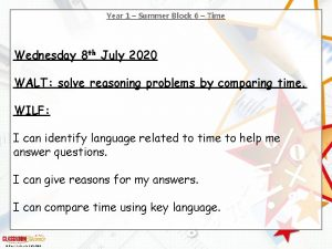 Year 1 Summer Block 6 Time Wednesday 8