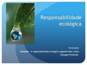 Responsabilidade ecolgica 1952010 Sumrio A responsabilidade ecolgica segundo