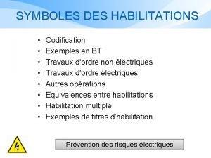 SYMBOLES DES HABILITATIONS Codification Exemples en BT Travaux