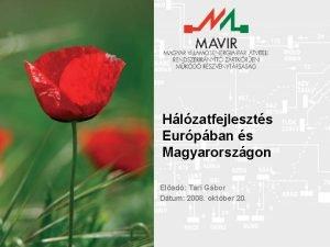Hlzatfejleszts Eurpban s Magyarorszgon Elad Tari Gbor Dtum