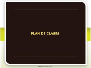 PLAN DE CLASES Qumica I Plan de clases