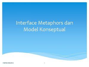 Interface Metaphors dan Model Konseptual Interface Metaphors 1