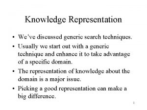 Knowledge Representation Weve discussed generic search techniques Usually