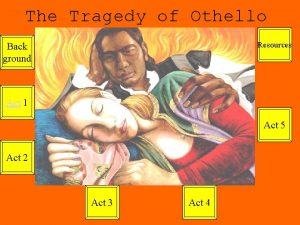 The Tragedy of Othello Resources Back ground Act