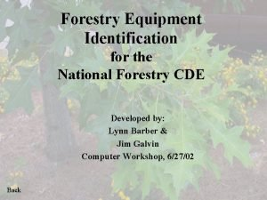 Forestry Equipment Identification for the National Forestry CDE