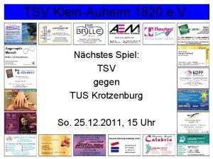 TSV KleinAuheim 1820 e V Nchstes Spiel TSV
