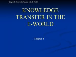 Chapter Knowledge Transfer in the EWorld KNOWLEDGE TRANSFER