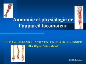 Anatomie et physiologie de lappareil locomoteur JP MARCHALAND