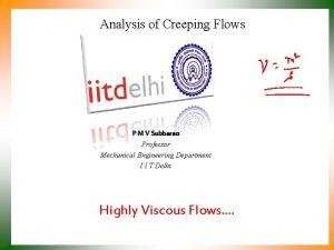Analysis of Creeping Flows P M V Subbarao