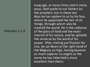 Hebrews 1 1 4 Long ago at many