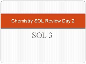 Chemistry SOL Review Day 2 SOL 3 UNIT