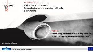 HORIZON 2020 Call H 2020 GV2016 2017 Technologies