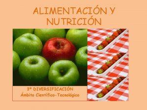 ALIMENTACIN Y NUTRICIN 3 DIVERSIFICACIN mbito CientficoTecnolgico Empezaremos