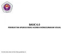 BASIC 6 0 PEMBUATAN APLIKASI BUKU AGENDA MENGGUNAKAN