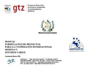 MANUAL FORMULACIN DE PROYECTOS PARA LA COOPERACIN INTERNACIONAL