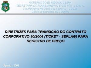 GOVERNO DO ESTADO DO CEAR SECRETARIA DO PLANEJAMENTO