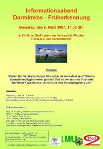 Informationsabend Darmkrebs Frherkennung Dienstag den 6 Mrz 2007