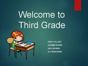 Welcome to Third Grade KRISTY ELLIOTT CARMEN GOODE