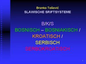 Branko Toovi SLAWISCHE SRIFTSYSTEME BKS BOSNISCH BOSNIAKISCH KROATISCH