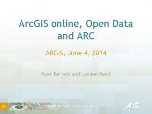 Arc GIS online Open Data and ARC ARGIS