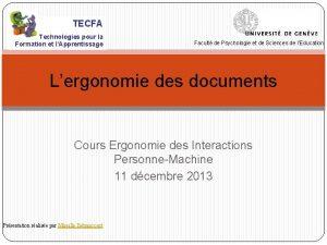 TECFA Technologies pour la Formation et lApprentissage Facult
