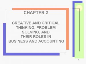 CHAPTER 2 CREATIVE AND CRITICAL THINKING PROBLEM SOLVING